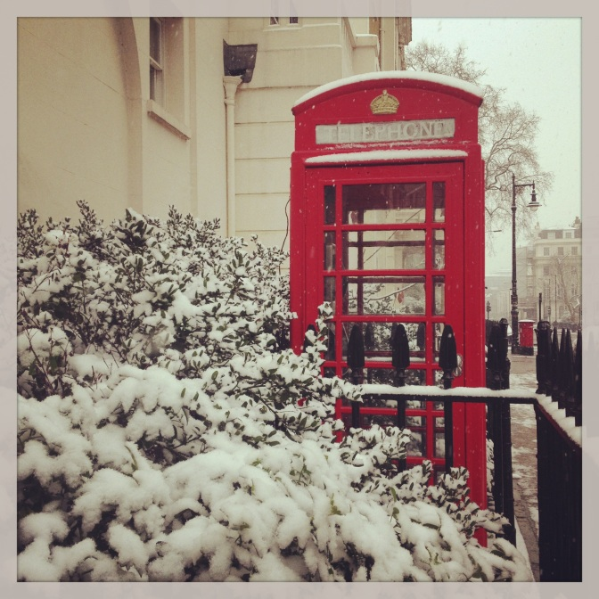 snowed phone booth london