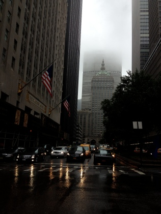 Park Avenue, heavy fog, strong wind, my foldable umbrella gave up quite quickly