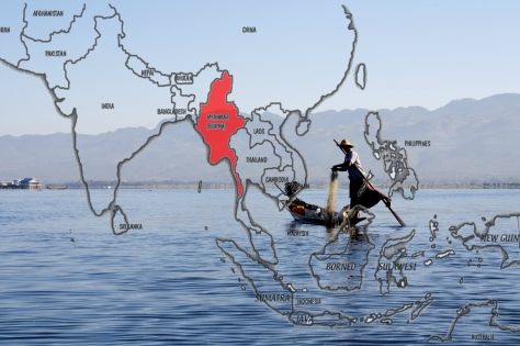 map asia myanmar inley lake