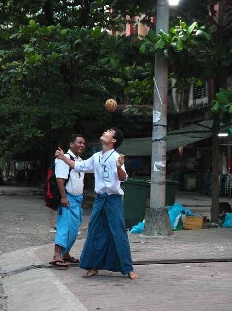 Playing Chinlone in the streets o yangon